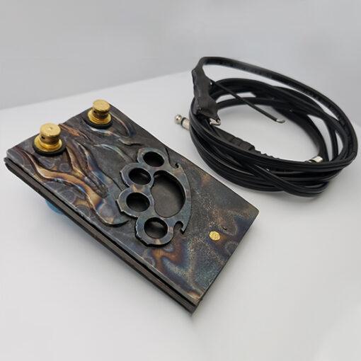 Pedal en Acero Manopla + Cable Clip Cord Para Tatuar